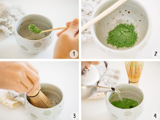 measuring matcha powder with a bamboo spoon, and whisking the powder with a bamboo whisk then pouring hot water to the matcha bowl
