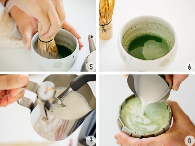 brewing matcha green tea, frothing milk with coffee machine and pouring the milk into a matcha bowl.