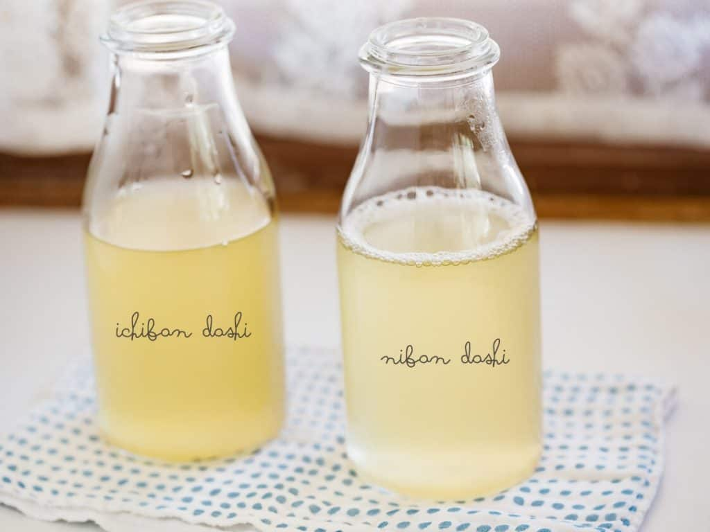 Ichiban dashi in a bottle on the left and Niban dashi in a bottle on the right