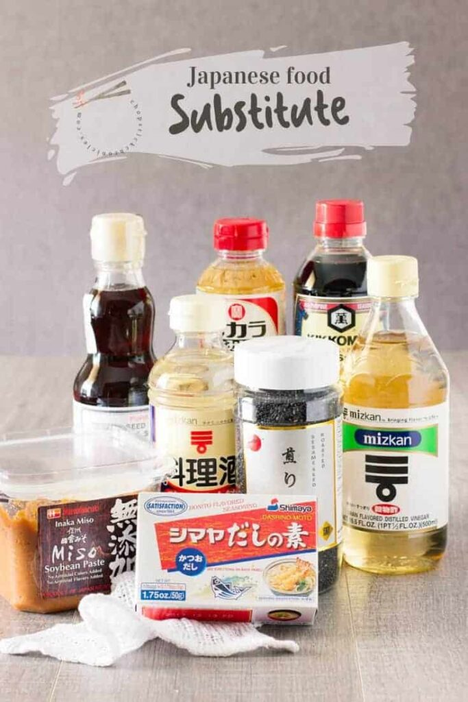 Japanese condiments on a kitchen bench