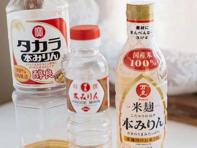 three Mirin bottles