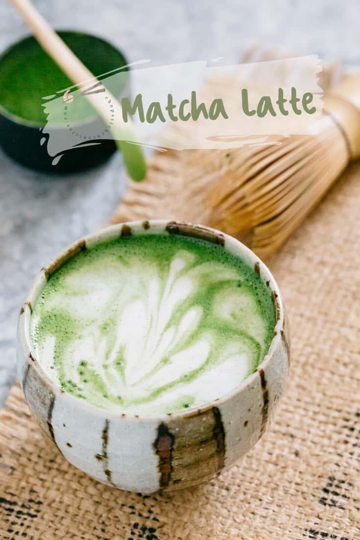 Matcha latte served in a matcha latte bowl with matcha latte art
