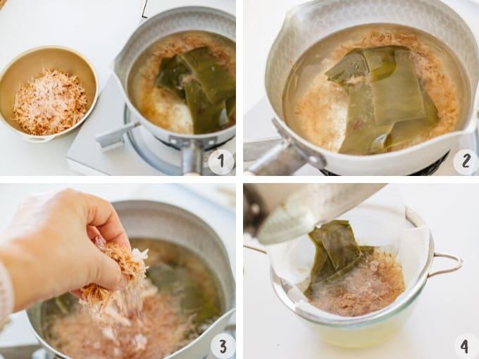 cooking ichiban dashi ingredients with extra bonito flakes to make Niban dashi