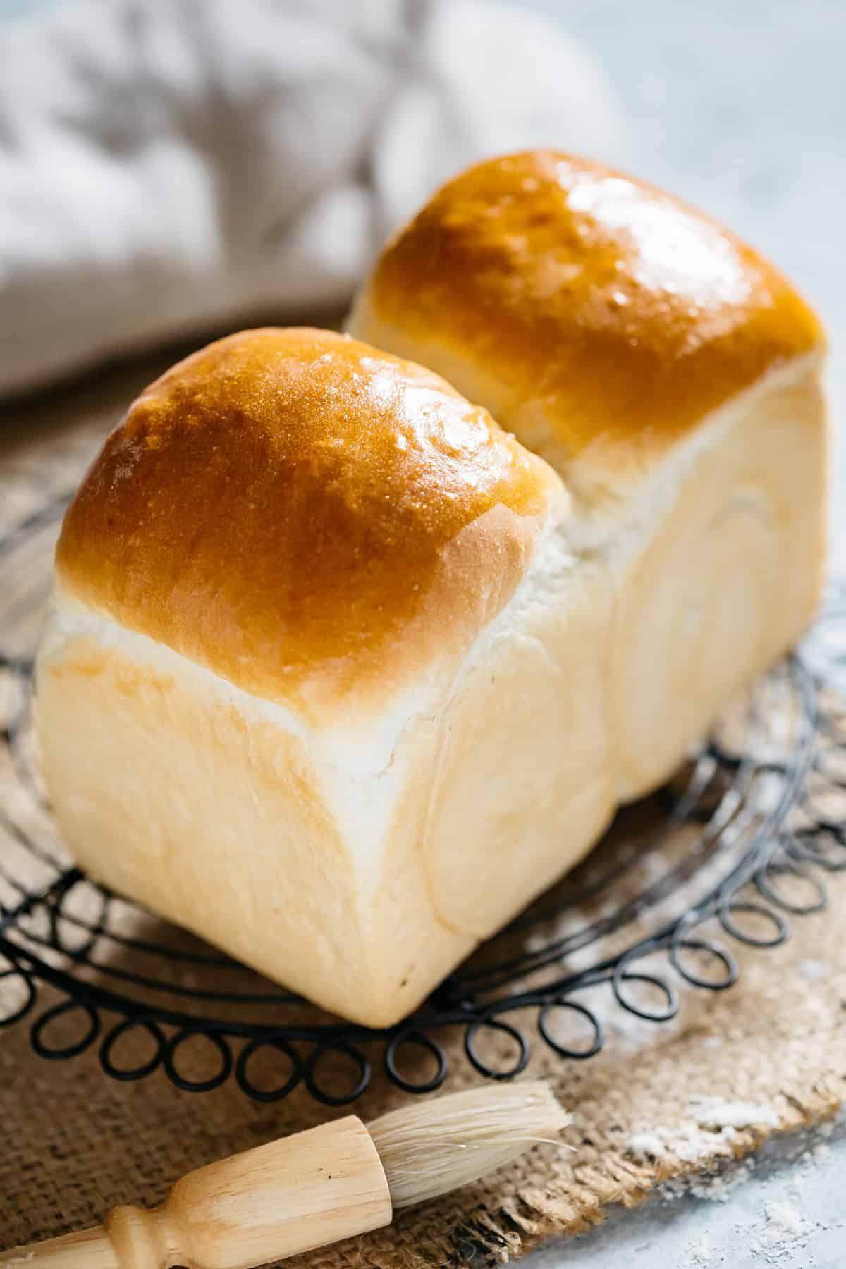 a freshly baked shokupan Japanese milk bread loaf on a cooling rack