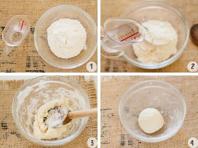Making youdane in 4 photos, adding hot boiling water into a bowl of bread flour