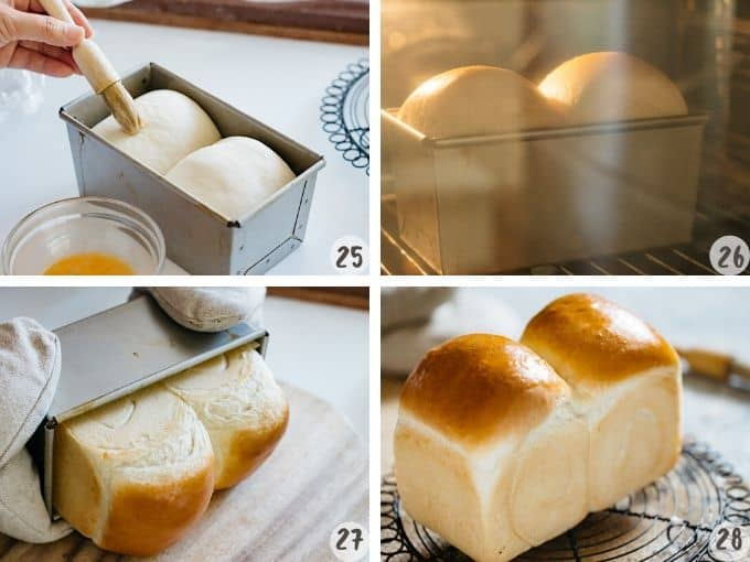 brushing beaten egg on the bread dough and baking, and removing from the tin in 4 photos