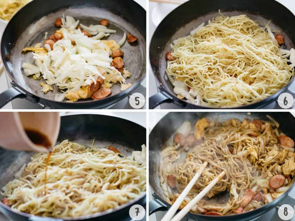 making yakisoba in 4 photos