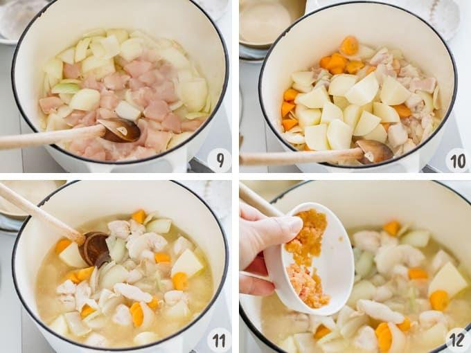 Adding chicken, carrot and potato. Add water and grated apple in 4 photos