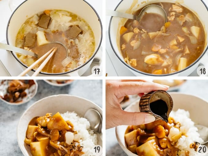Dissolving the curry roux into the cooking water to make curry and serve with cooked rice in 4 photos