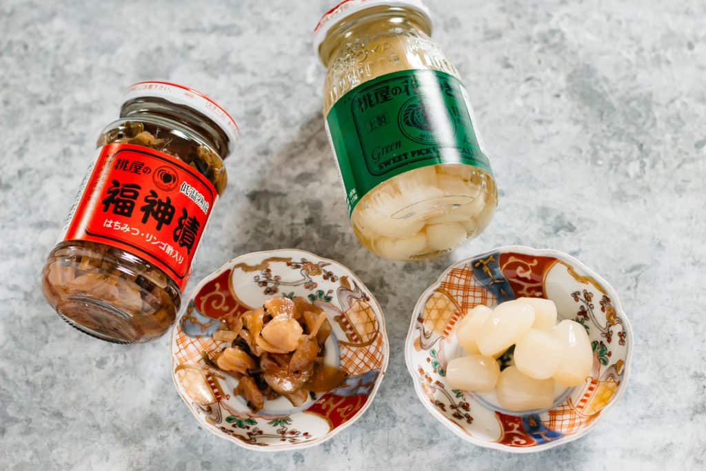 Fukushinzuke pickled daikon and Rakkyo pickled shallots