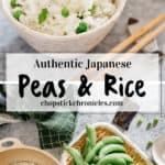 Peas and rice pinterest pin with text overlay