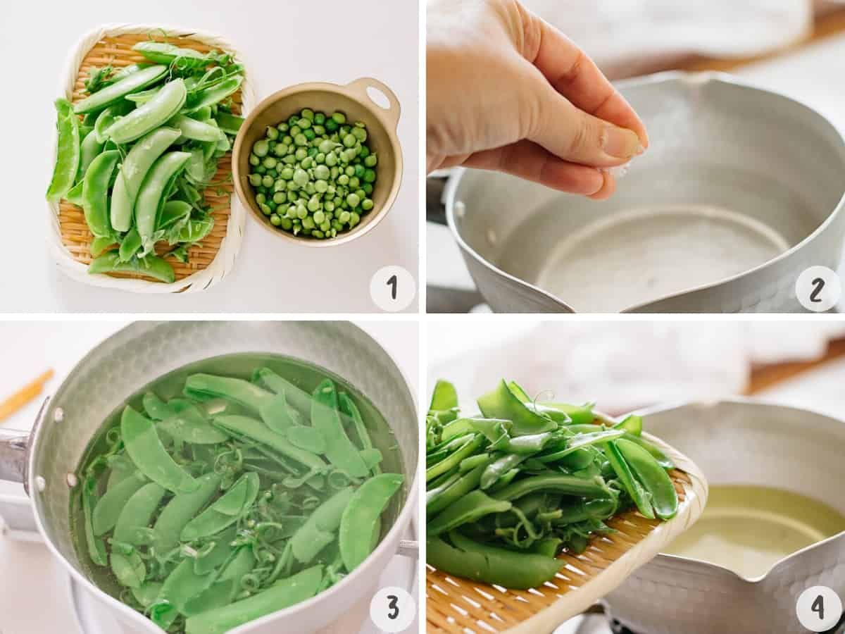 removing peas from pods and cooking pods in a saucepan with a pinch of salt