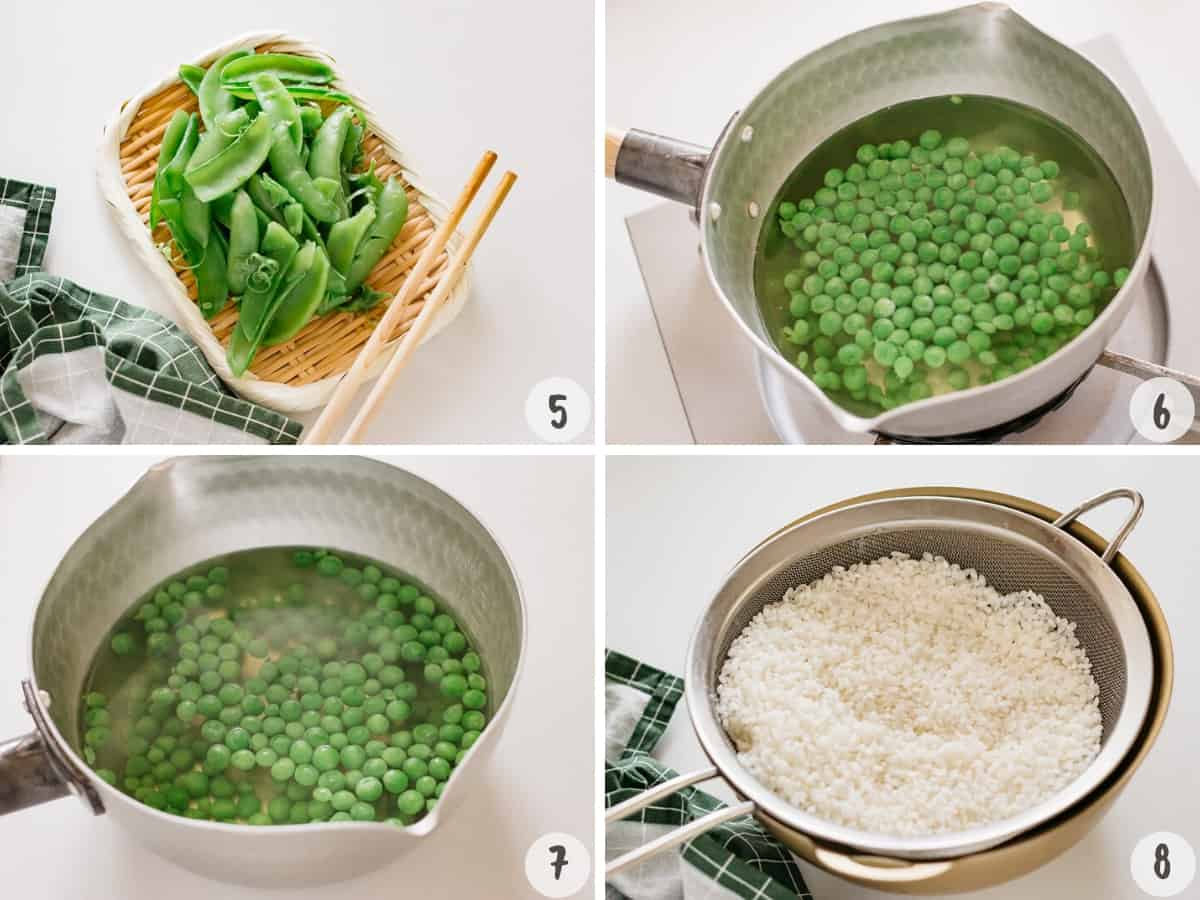 removing the pods and adding peas into the saucepan. Let the peas cool down in the saucepan