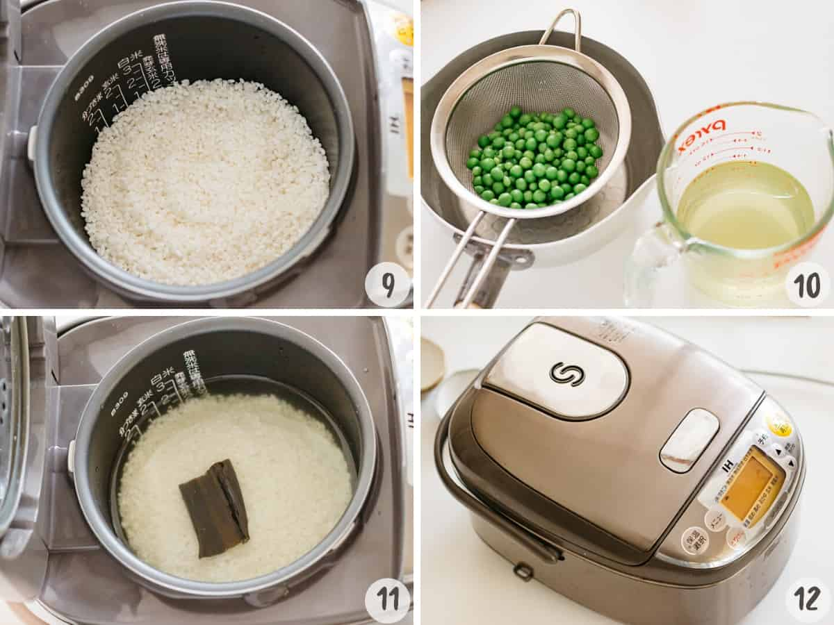 Drain the cooking water to separate the peas. Set the rice cooker with rice and drained cooking water, salt, sake and kelp.