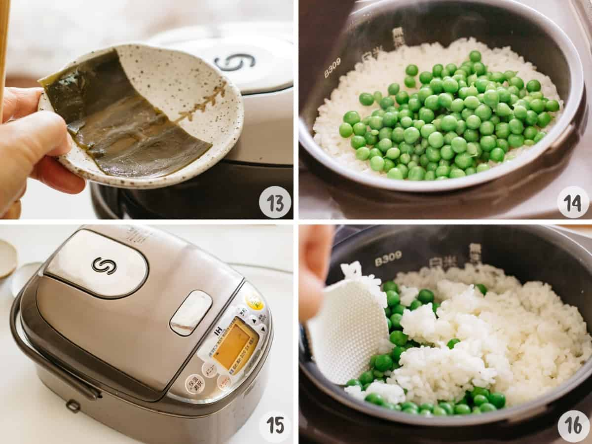 Removing the kelp and add green peas to the rice cooker to steam cook.