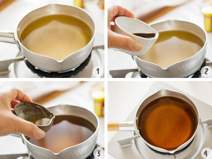 4 photos showing how to make udon noodle soup with dashi, soy sauce and mirin