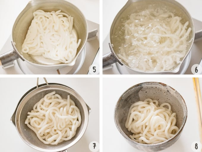 4 photos showing how to cook udon noodle