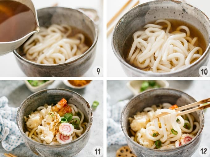 4 photos showing how to assemble udon noodle, udon soup and toppings