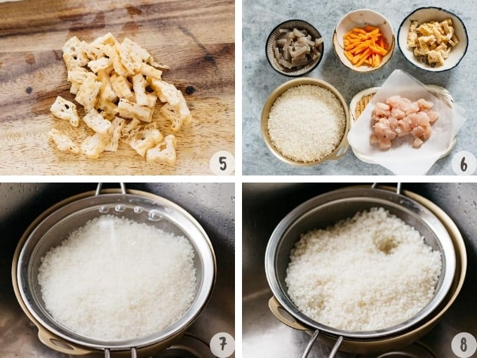 4 photo collage of preparing seasoned rice ingredients and rinsing rice