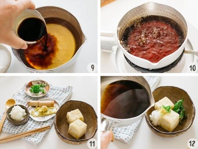 4 photos collage showing making broth sauce for agedashi tofu