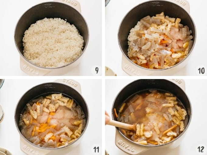4 photo collage process shot showing placing all ingredients into a cast iron rice cooker