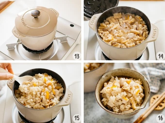 4 photo collage showing cooking seasoned rice in a cast iron rice cooker