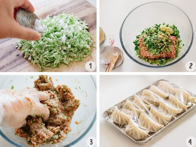 4 photo collage showing combining the gyoza fillings