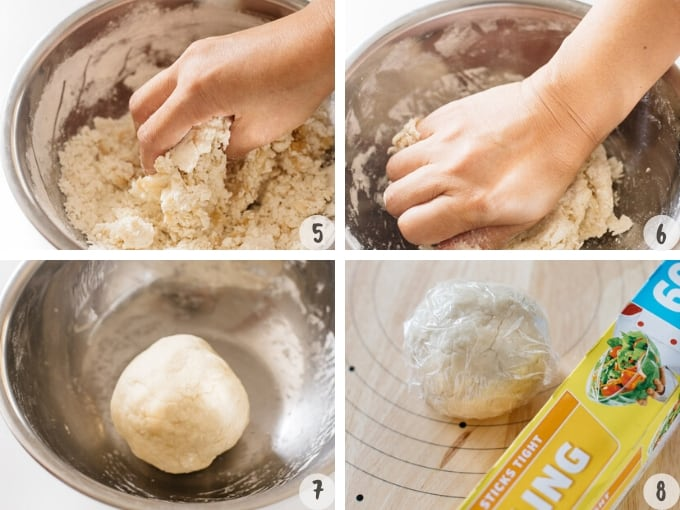 making the dough into a ball shape and wrap with a cling wrap sheet in 4 photos