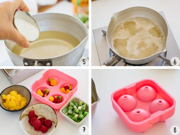 4 photo collage showing adding sugar to Kanten jelly mixture and pouring it into a mold with fruit pieces