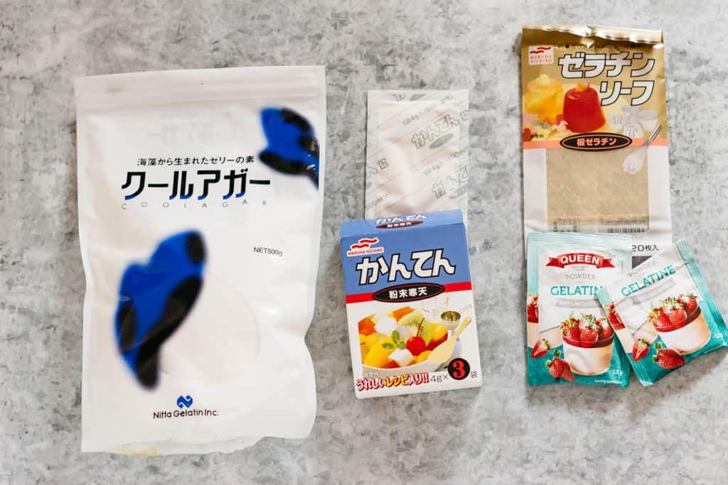 Agar packet, Kanten powder and Gelatine sheets and powder