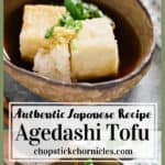 Agedashi tofu image for Pinterest Pin with text overlay