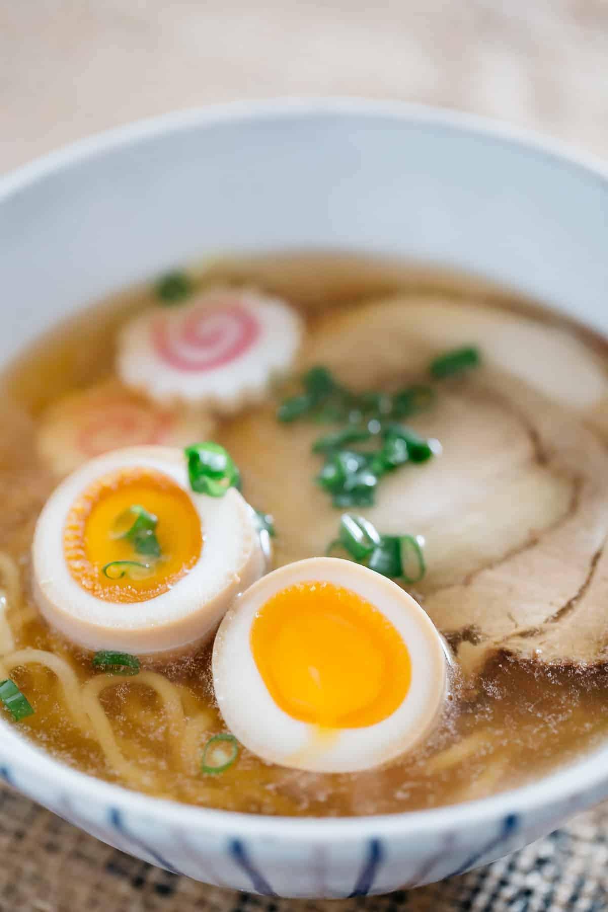 Ramen egg served in ramen