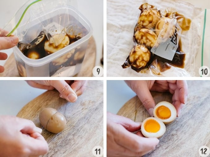 4 photo collage showing how to marinate the soft boiled eggs in soy sauce and miso marinade