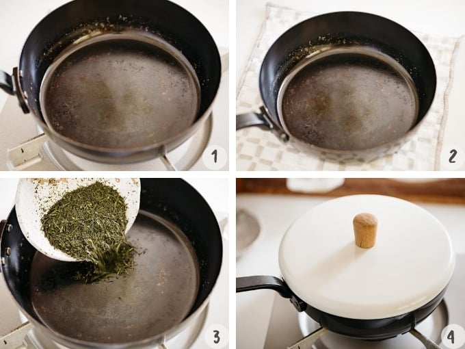 4 photo collage of roasting sencha green tea in steps