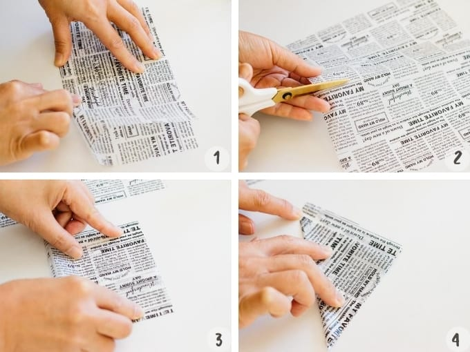 4 photo collage of how to make sushi burger wrapper 1