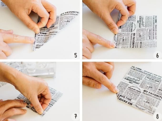 4 photo collage of how to make rice burger buns wrapper
