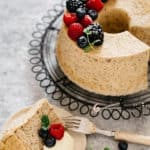Hojicha chiffon cake image for pinterest share with text overlay