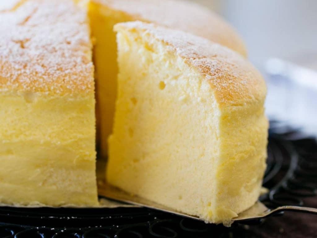 Japanese cheesecake sliced