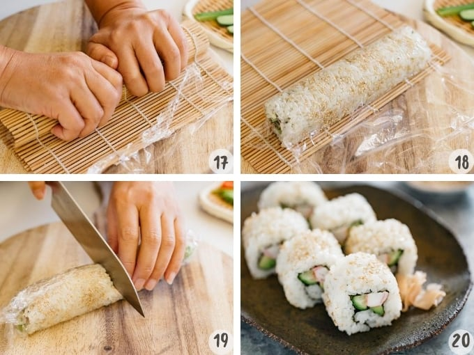 4 photo collage showing rolling california roll with a bamboo sushi rolling mat and cutting it into 6 pieces