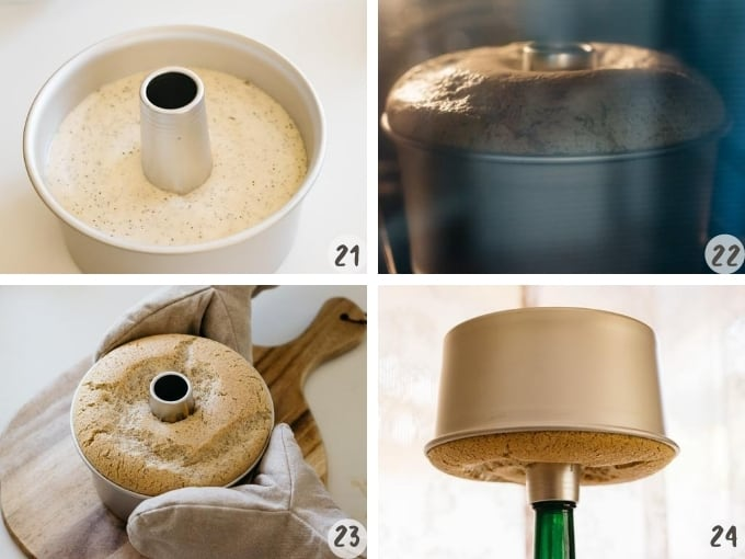 4 photo collage showing baking chiffon cake and cooling down upside down