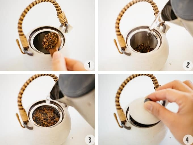 4 photo collage showing brewing hot HOjicha in 4 steps