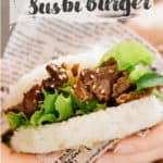Sushi rice burger with yakiniku image for pinterest with text overlay
