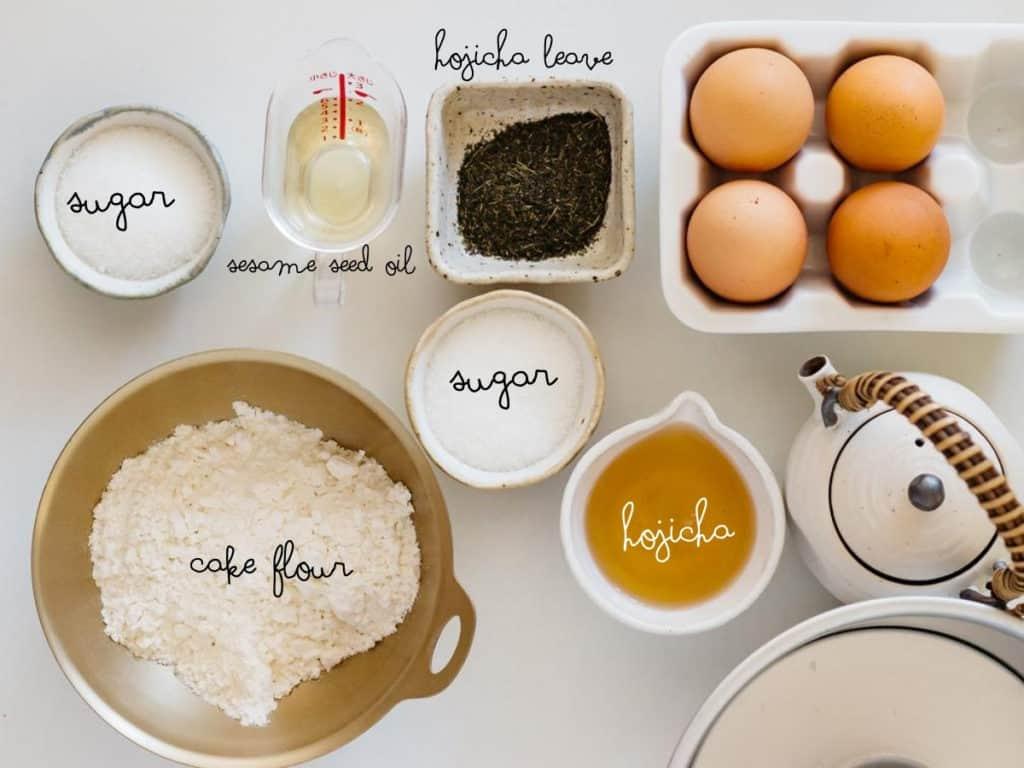 cake flour, eggs, sugar, hojicha leaves, brewed hojicha and sesame seed oil