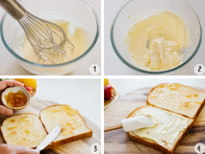 4 photo collage showing whipping heavy cream and mascarpone and spreading jam onto breads