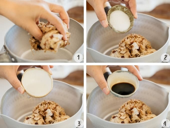 4 photo collage of furikake making process. Adding all ingredients into a saucepan.