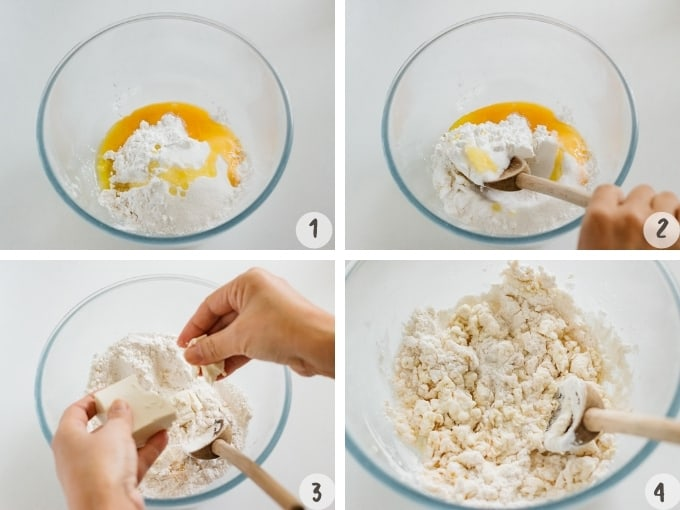4 photo collage of mochi donut making process. All ingredients one large mixing bowl
