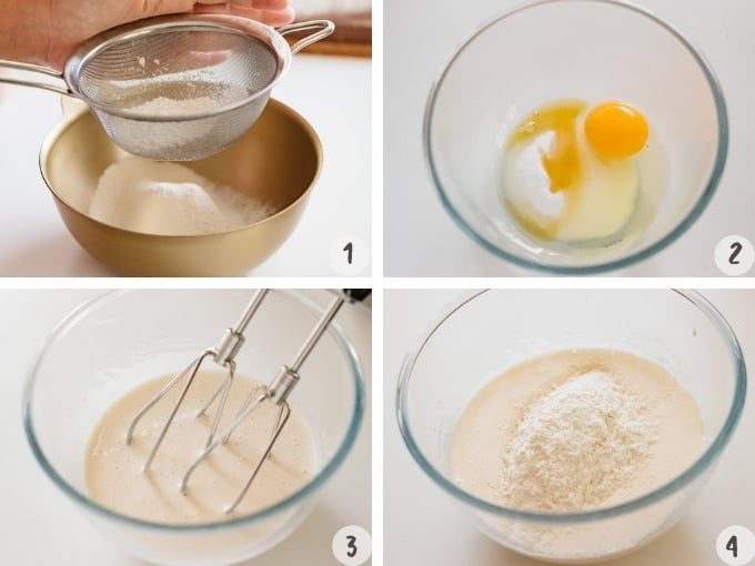 4 photo collage showing shifting flour and beating all other ingredients with an electric beater