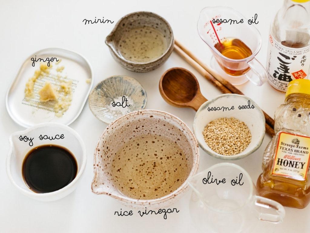 grated ginger, soy sauce, sesame oil, olive oil, sesame seeds, honey, mirin and salt