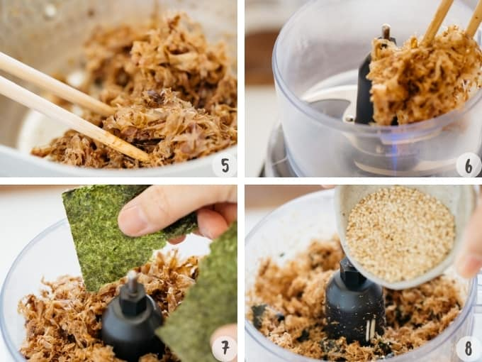 4 photo collage of furikake making process cooked ingredients combined in a food processor