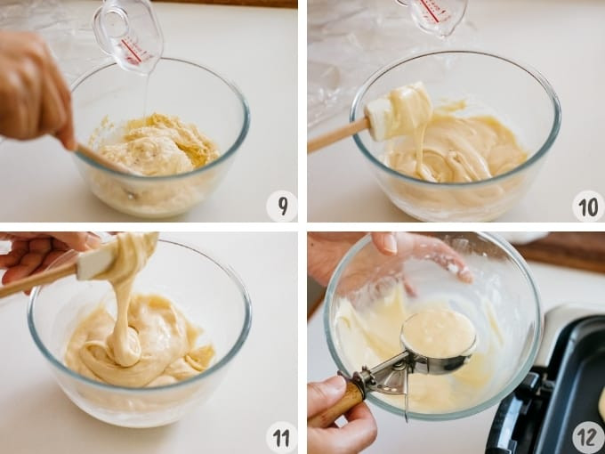 4 photo collage of dorayaki making process, adding water to chilled dorayaki batter to smooth the batter